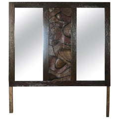 Witco Brutalist Wall Mirror Oceanic Tropical Tiki Carved Exotic Wood, 1960s