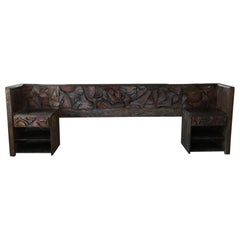 WITCO Spectacular KING Headboard & Nightstands Brutalist Exotic Carved Wood 60s