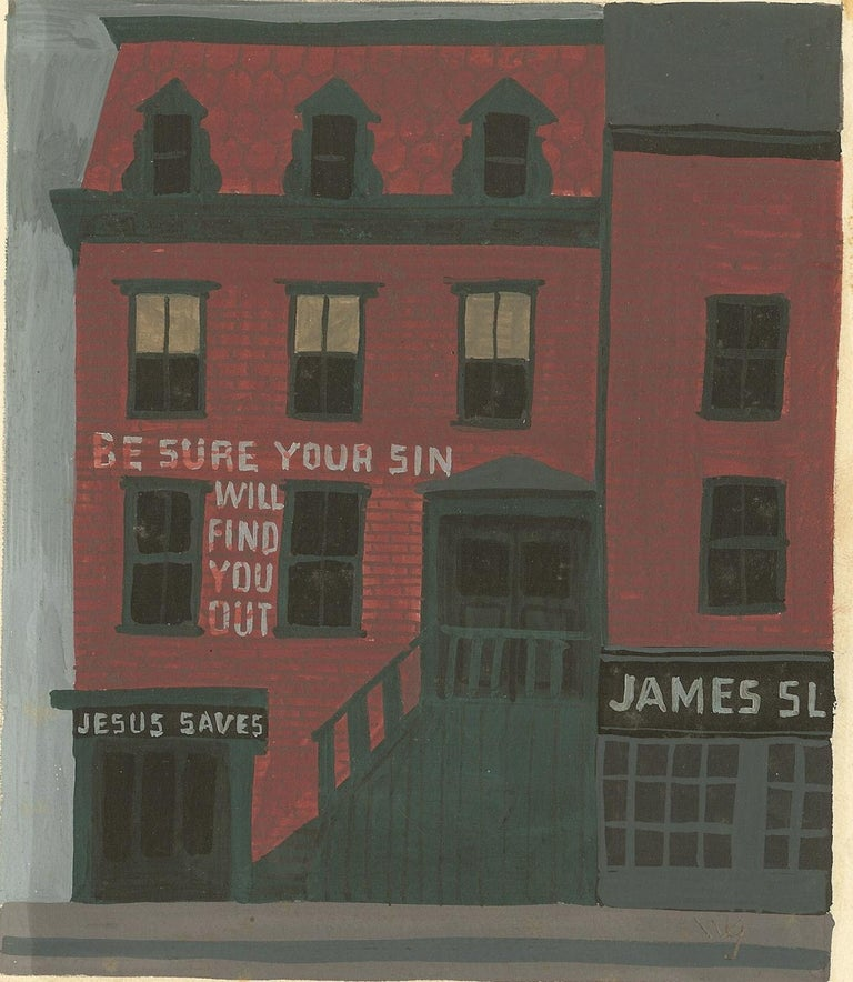 American Witold Gordon Gouache, Jesus Saves, Vanity Fair For Sale