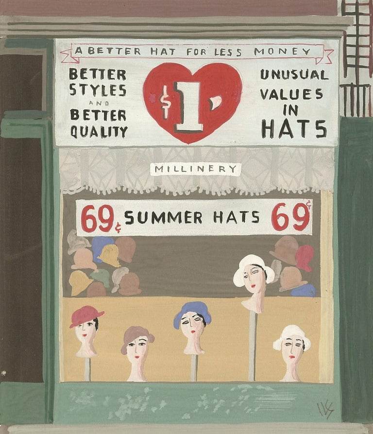 Art Deco Witold Gordon Gouache, Summer Hats, Vanity Fair For Sale