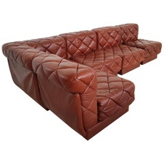 Wittman Sectional Sofa in Brown Patchwork Leather