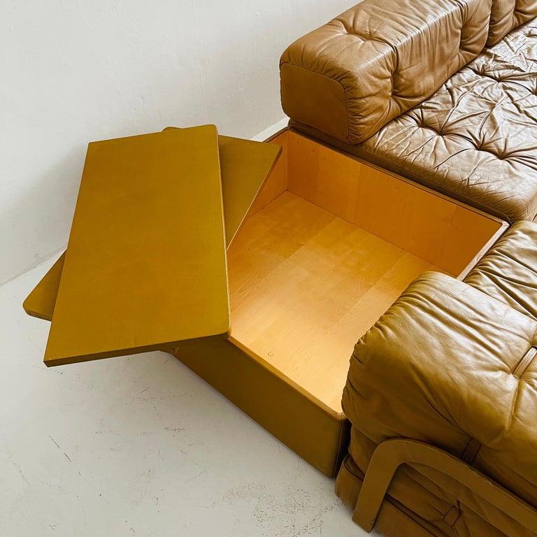 Wittmann Atrium Cognac Leather Living Room Suite Sofa Daybeds, Austria, 1970s For Sale 5
