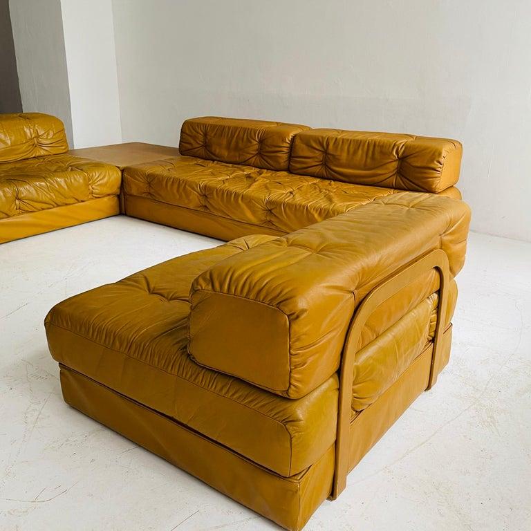 Wittmann Atrium Cognac Leather Living Room Suite Sofa Daybeds, Austria, 1970s For Sale 6