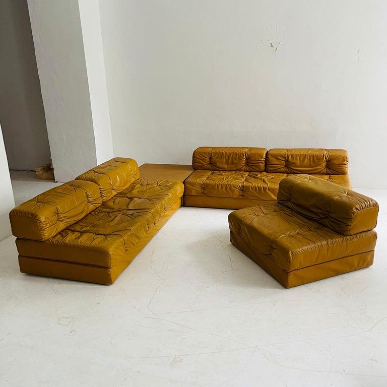 Wittmann Atrium Cognac Leather Living Room Suite Sofa Daybeds, Austria, 1970s For Sale 8