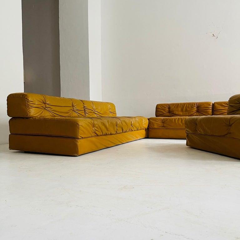 Wittmann Atrium Cognac Leather Living Room Suite Sofa Daybeds, Austria, 1970s For Sale 9