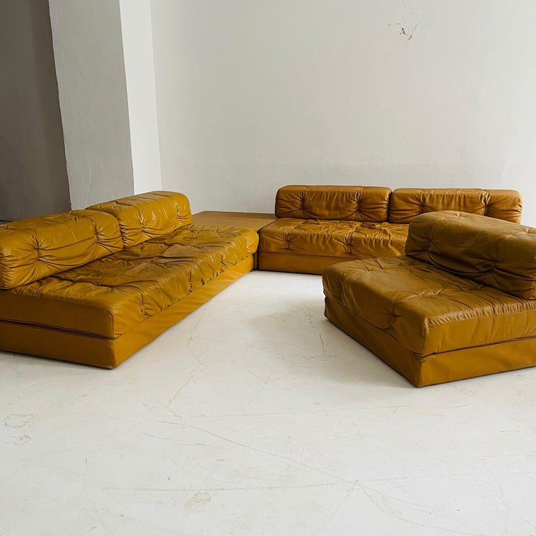 Wittmann Atrium Cognac Leather Living Room Suite Sofa Daybeds, Austria, 1970s For Sale 10