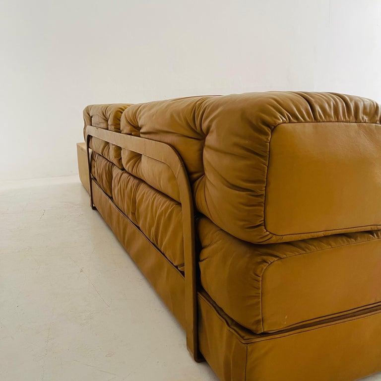 Wittmann Atrium Cognac Leather Living Room Suite Sofa Daybeds, Austria, 1970s For Sale 12