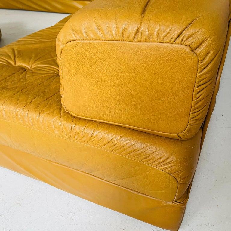 Wittmann Atrium Cognac Leather Living Room Suite Sofa Daybeds, Austria, 1970s For Sale 13
