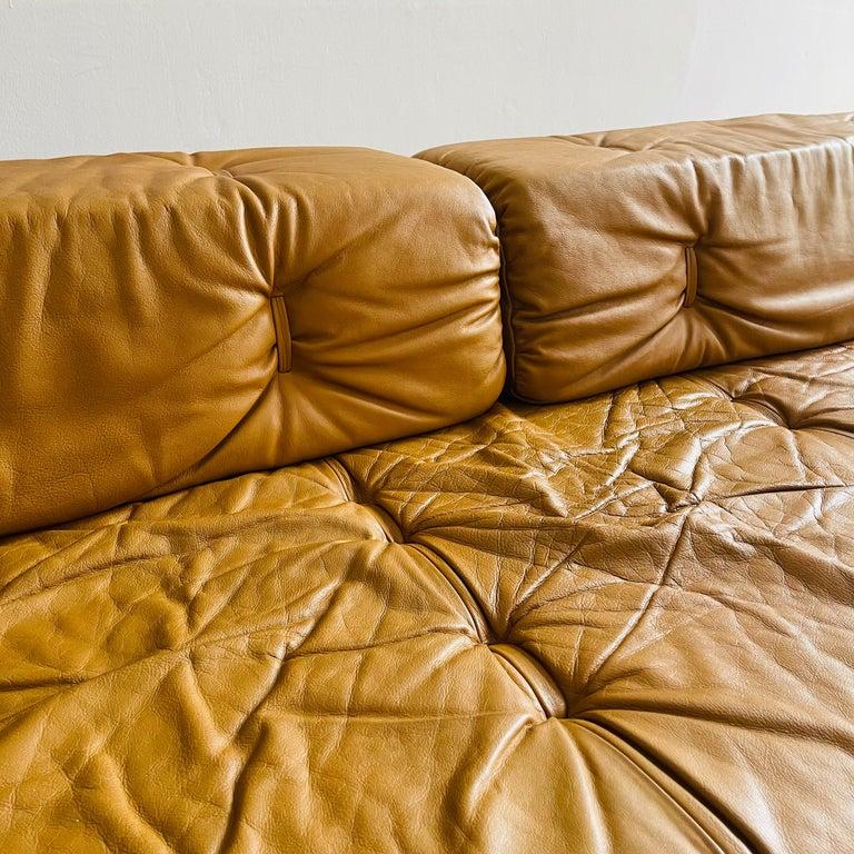 Wittmann Atrium Cognac Leather Living Room Suite Sofa Daybeds, Austria, 1970s For Sale 14