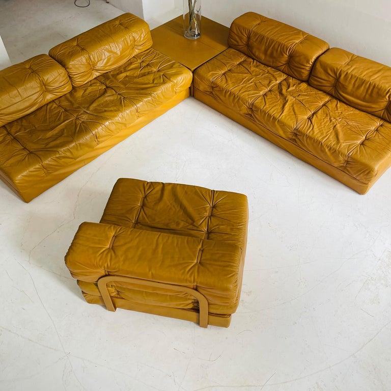 Austrian Wittmann Atrium Cognac Leather Living Room Suite Sofa Daybeds, Austria, 1970s For Sale