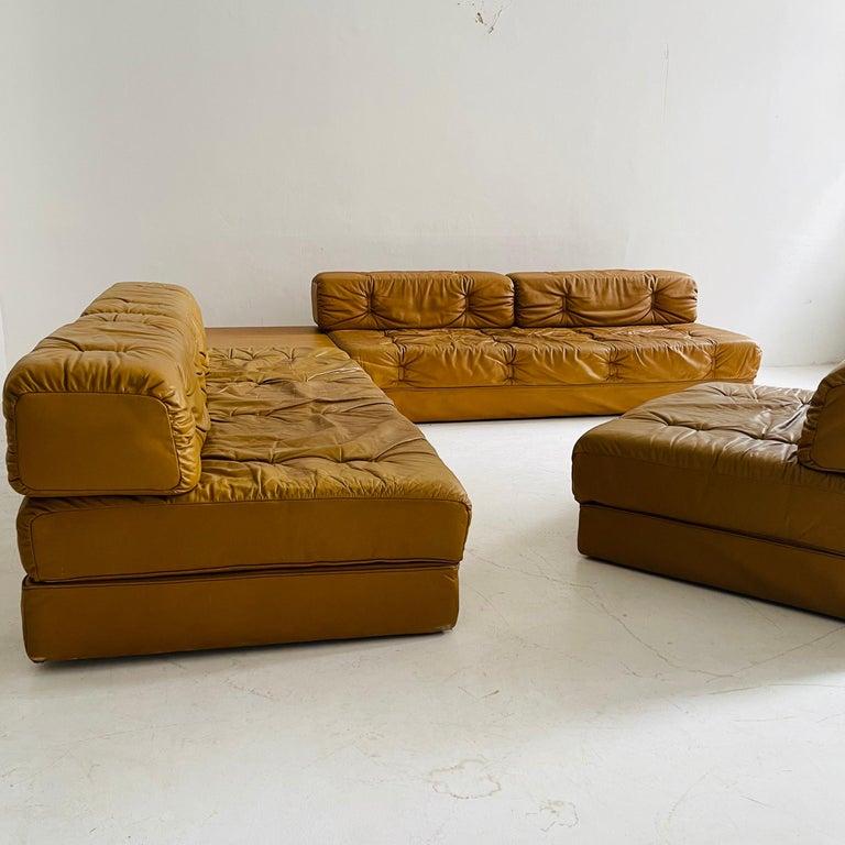 Wittmann Atrium Cognac Leather Living Room Suite Sofa Daybeds, Austria, 1970s For Sale 1