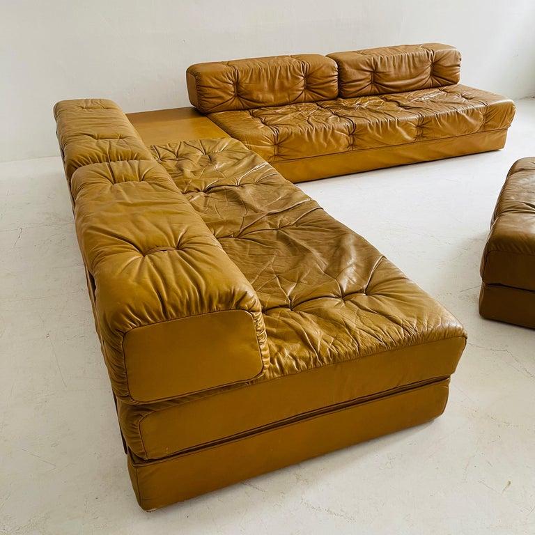 Wittmann Atrium Cognac Leather Living Room Suite Sofa Daybeds, Austria, 1970s For Sale 2