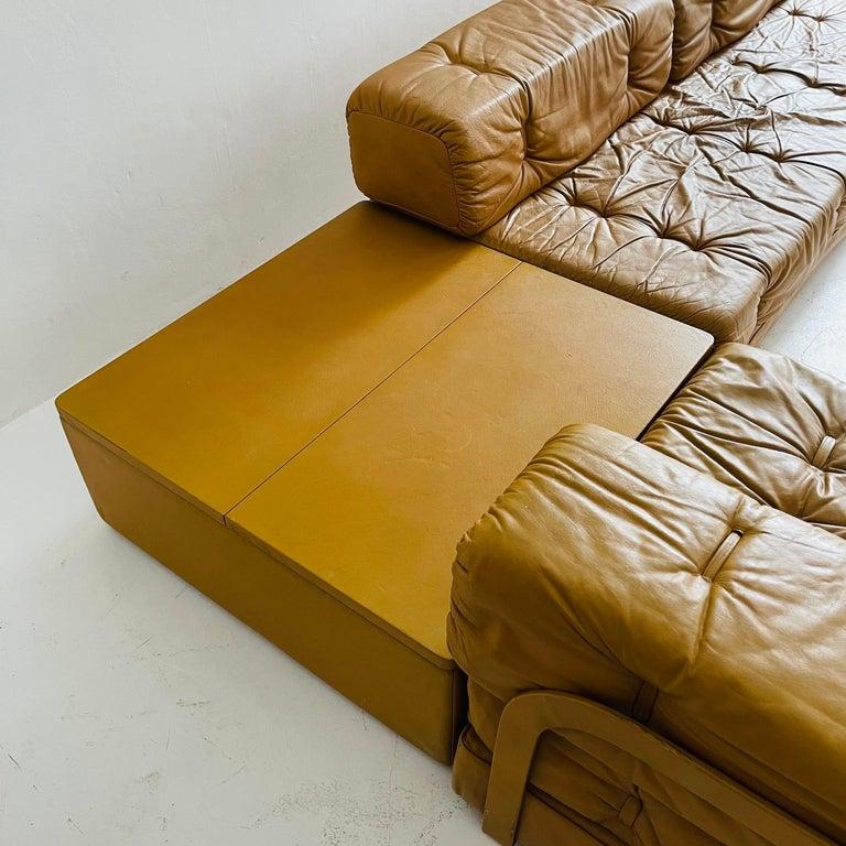 Wittmann Atrium Cognac Leather Living Room Suite Sofa Daybeds, Austria, 1970s For Sale 3