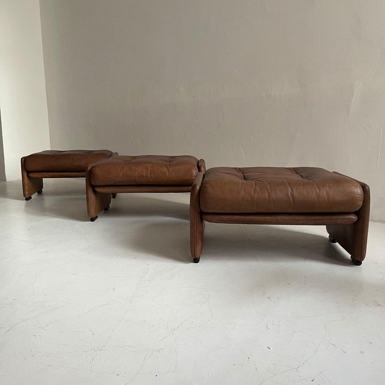 Wittmann Atrium Patinated Leather Ottomans Set of Three, Austria, 1970s For Sale 7