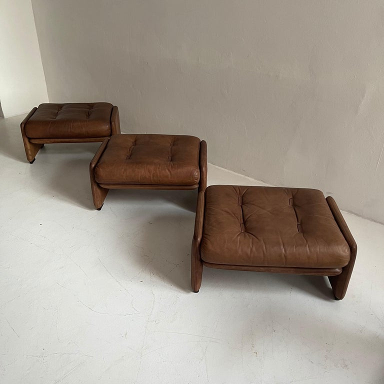 Wittmann Atrium Patinated Leather Ottomans Set of Three, Austria, 1970s For Sale 8