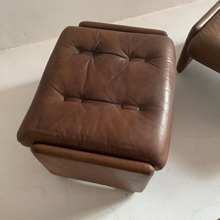 Wittmann Atrium Patinated Leather Ottomans Set of Three, Austria, 1970s For Sale 10