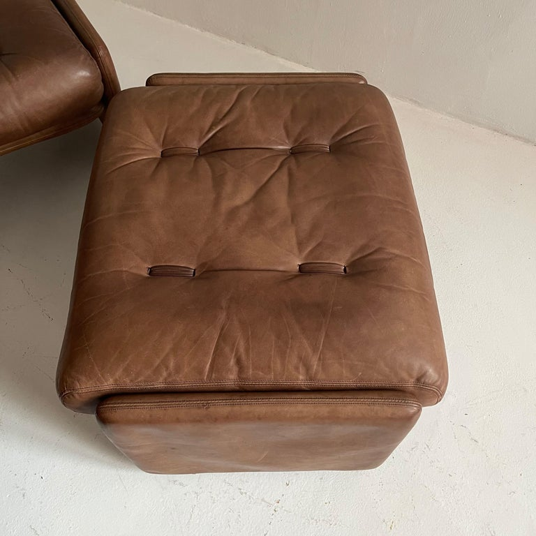 Wittmann Atrium Patinated Leather Ottomans Set of Three, Austria, 1970s For Sale 12