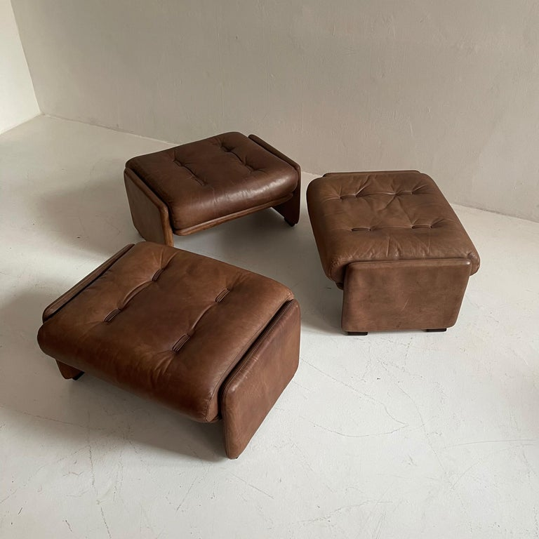 Mid-Century Modern Wittmann Atrium Patinated Leather Ottomans Set of Three, Austria, 1970s For Sale