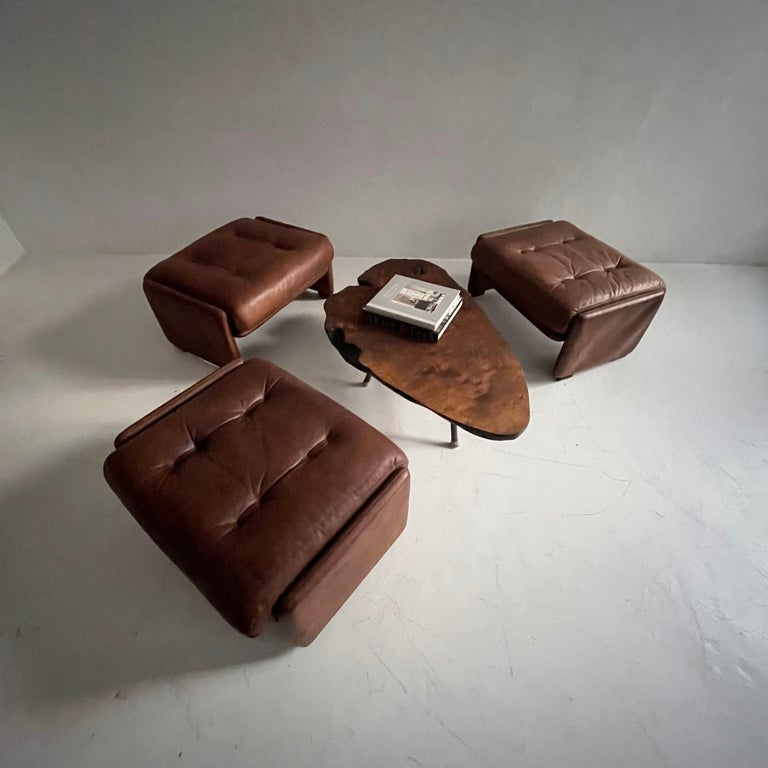 Wittmann Atrium Patinated Leather Ottomans Set of Three, Austria, 1970s In Good Condition For Sale In Vienna, AT