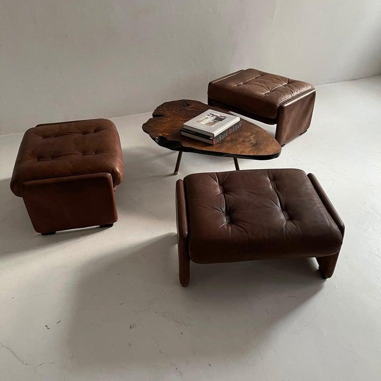 Late 20th Century Wittmann Atrium Patinated Leather Ottomans Set of Three, Austria, 1970s For Sale