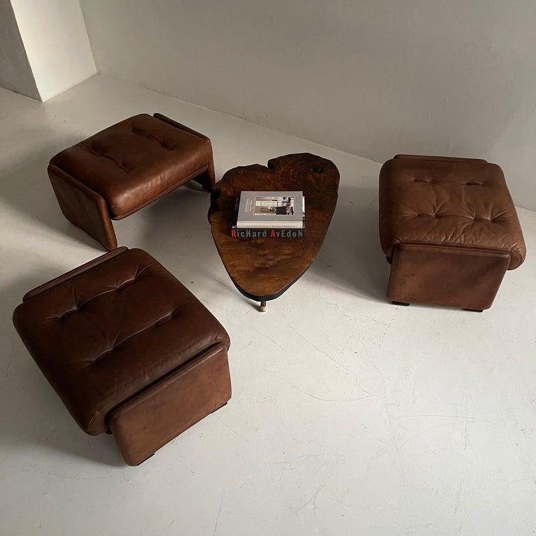 Wittmann Atrium Patinated Leather Ottomans Set of Three, Austria, 1970s For Sale 1