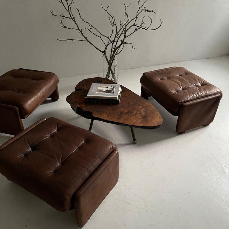 Wittmann Atrium Patinated Leather Ottomans Set of Three, Austria, 1970s For Sale 2