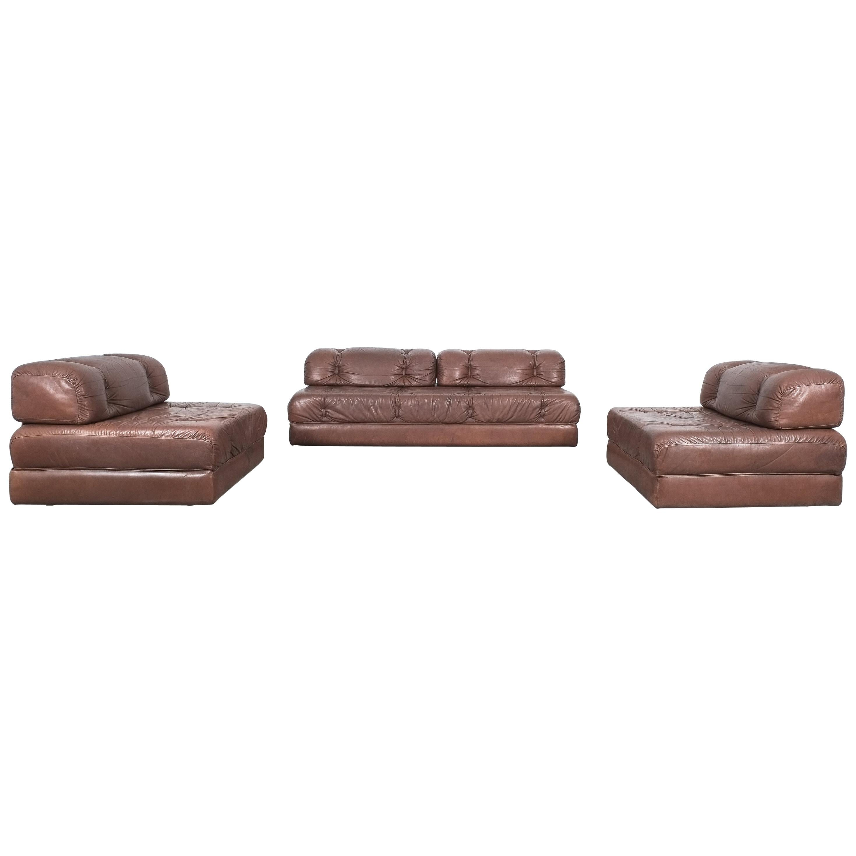 Wittmann Atrium Sofa and Two Chairs Brown Leather, Austria
