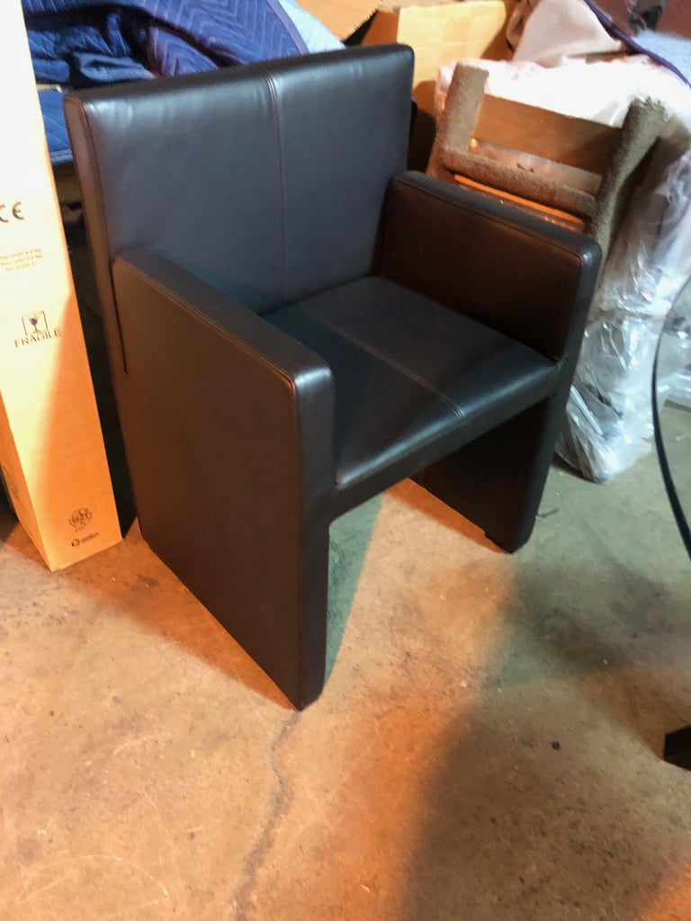 Contemporary Wittmann Black Leather Corso Armchair For Sale