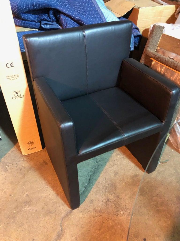 Wittmann Black Leather Corso Armchair For Sale 3