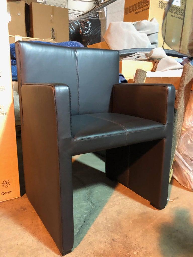 Wittmann Black Leather Corso Armchair For Sale 4