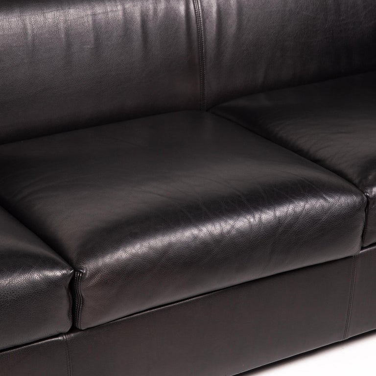 Modern Wittmann Camin Leather Sofa Black Three-Seater Couch For Sale