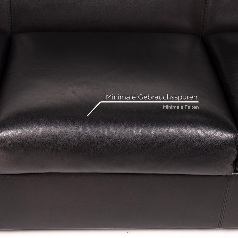 Austrian Wittmann Camin Leather Sofa Black Three-Seater Couch For Sale
