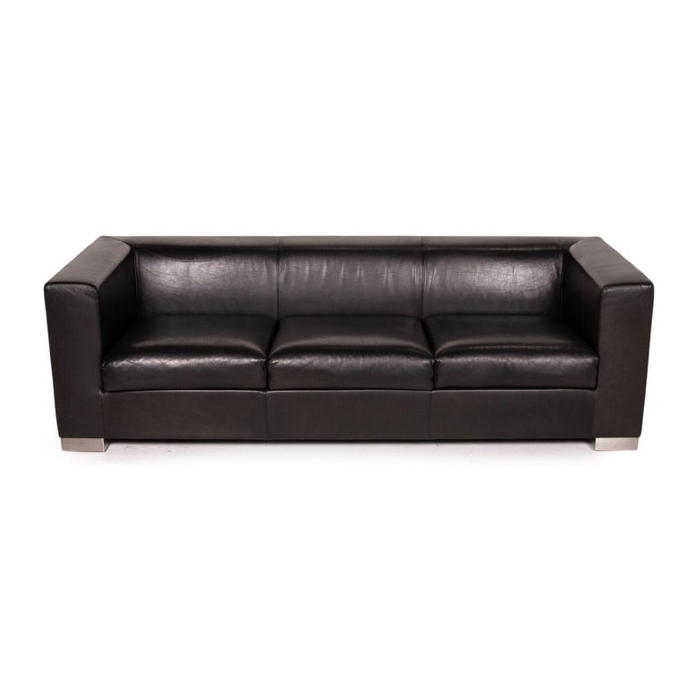 Contemporary Wittmann Camin Leather Sofa Black Three-Seater Couch For Sale