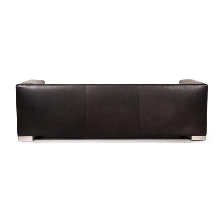 Wittmann Camin Leather Sofa Black Three-Seater Couch For Sale 2