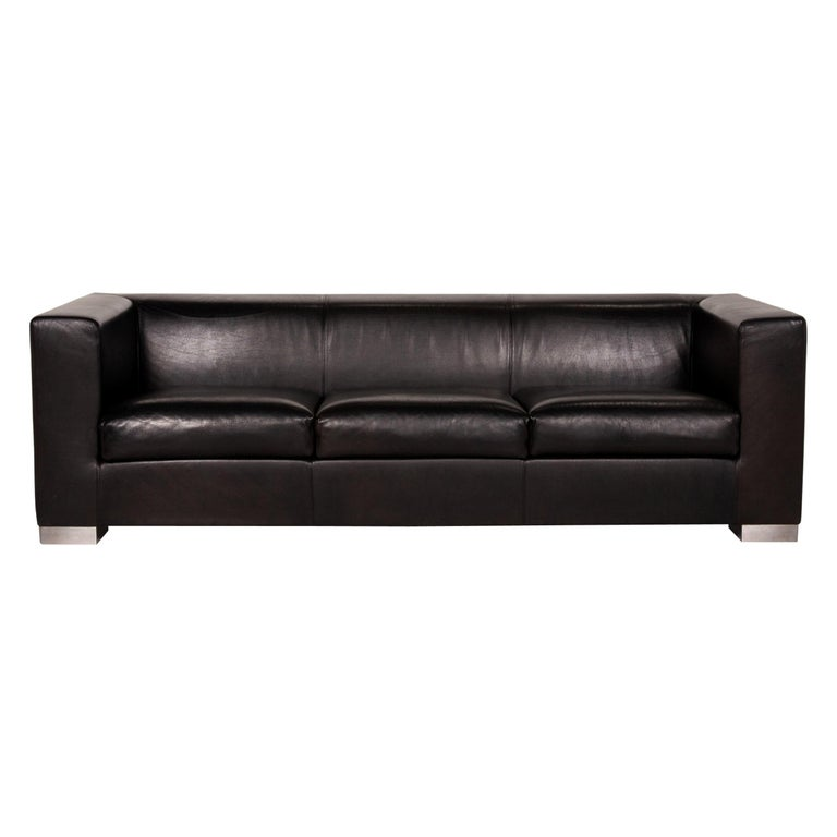 Wittmann Camin Leather Sofa Black Three-Seater Couch For Sale