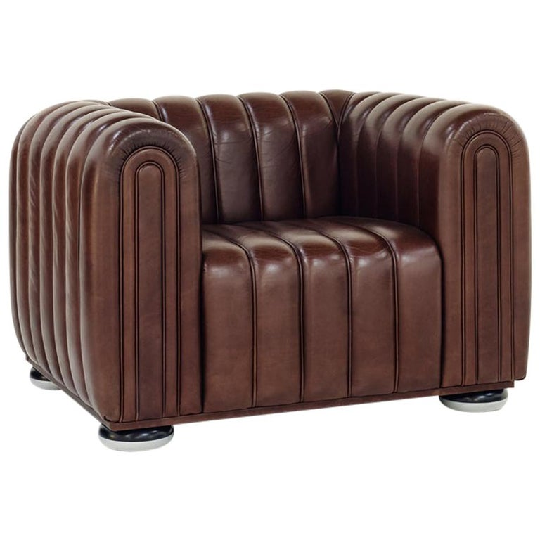 Wittmann Club 1910 Leather Lounge Chair Designed by Josef Hoffmann For Sale