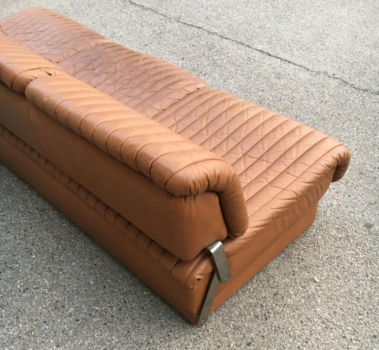 Late 20th Century Wittmann 'Independence' Daybed Sofa Patinated Cognac Leather, Austria, 1970s For Sale