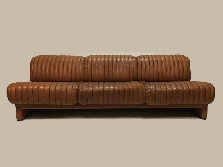 Wittmann 'Independence' Daybed Sofa Patinated Cognac Leather, Austria, 1970s For Sale 1