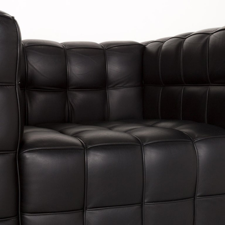 Modern Wittmann Kubus Leather Armchair Black For Sale