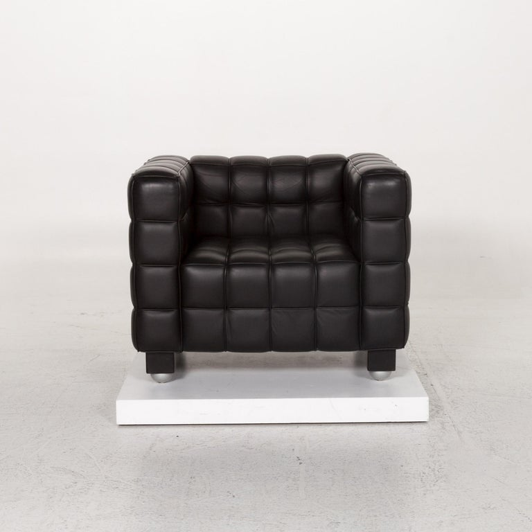 Wittmann Kubus Leather Armchair Black In Good Condition For Sale In Cologne, DE