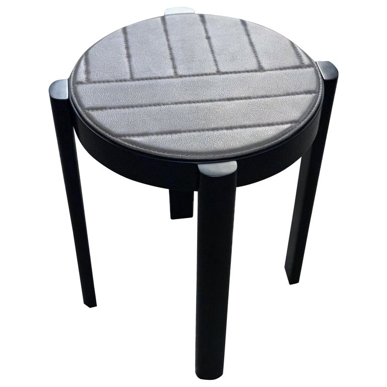 Wittmann Leather and Wood Melange Stool Table For Sale