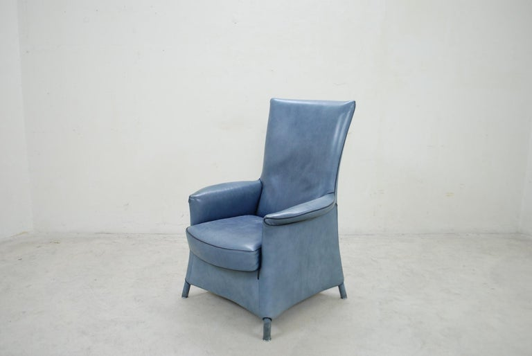 Wittmann Leather Armchair Chair Model Alta Design by Paolo Piva For Sale 5