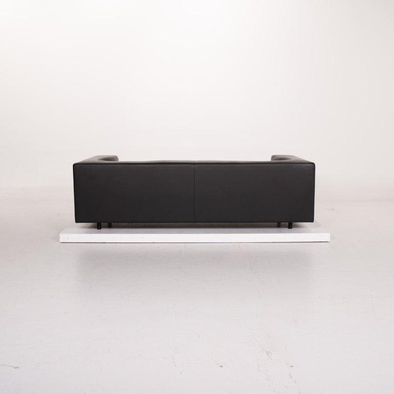 Wittmann Leather Sofa Black Three-Seat 4