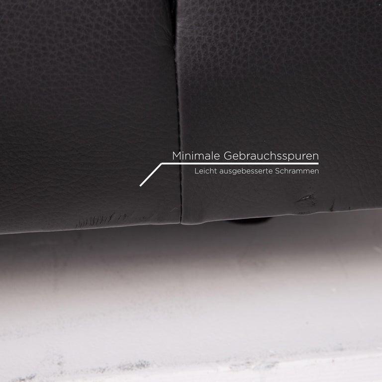 Austrian Wittmann Leather Sofa Black Three-Seat