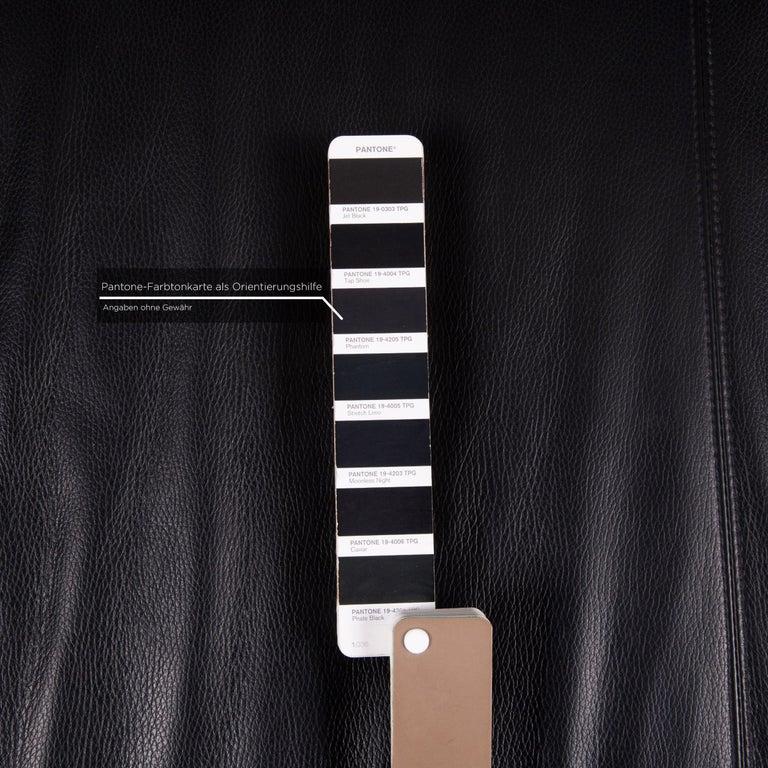 Contemporary Wittmann Leather Sofa Black Three-Seat