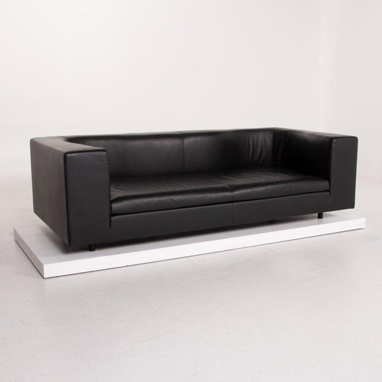 Wittmann Leather Sofa Black Three-Seat 1