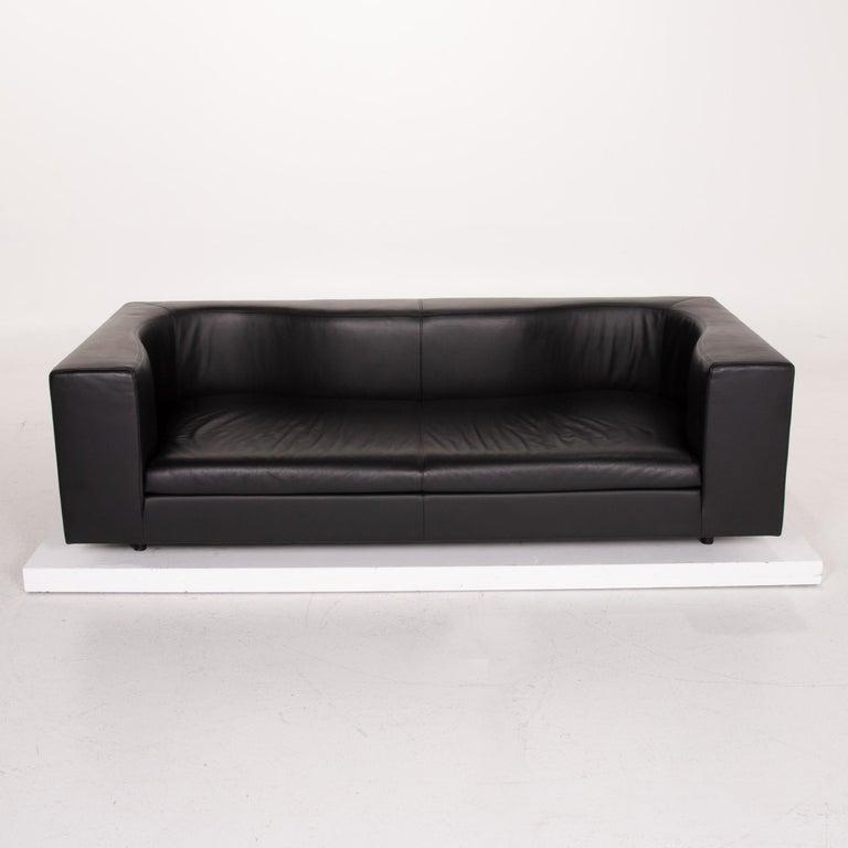 Wittmann Leather Sofa Black Three-Seat 2