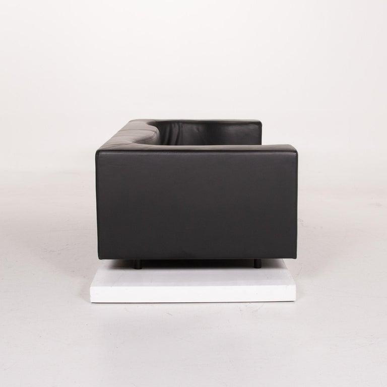 Wittmann Leather Sofa Black Three-Seat 3
