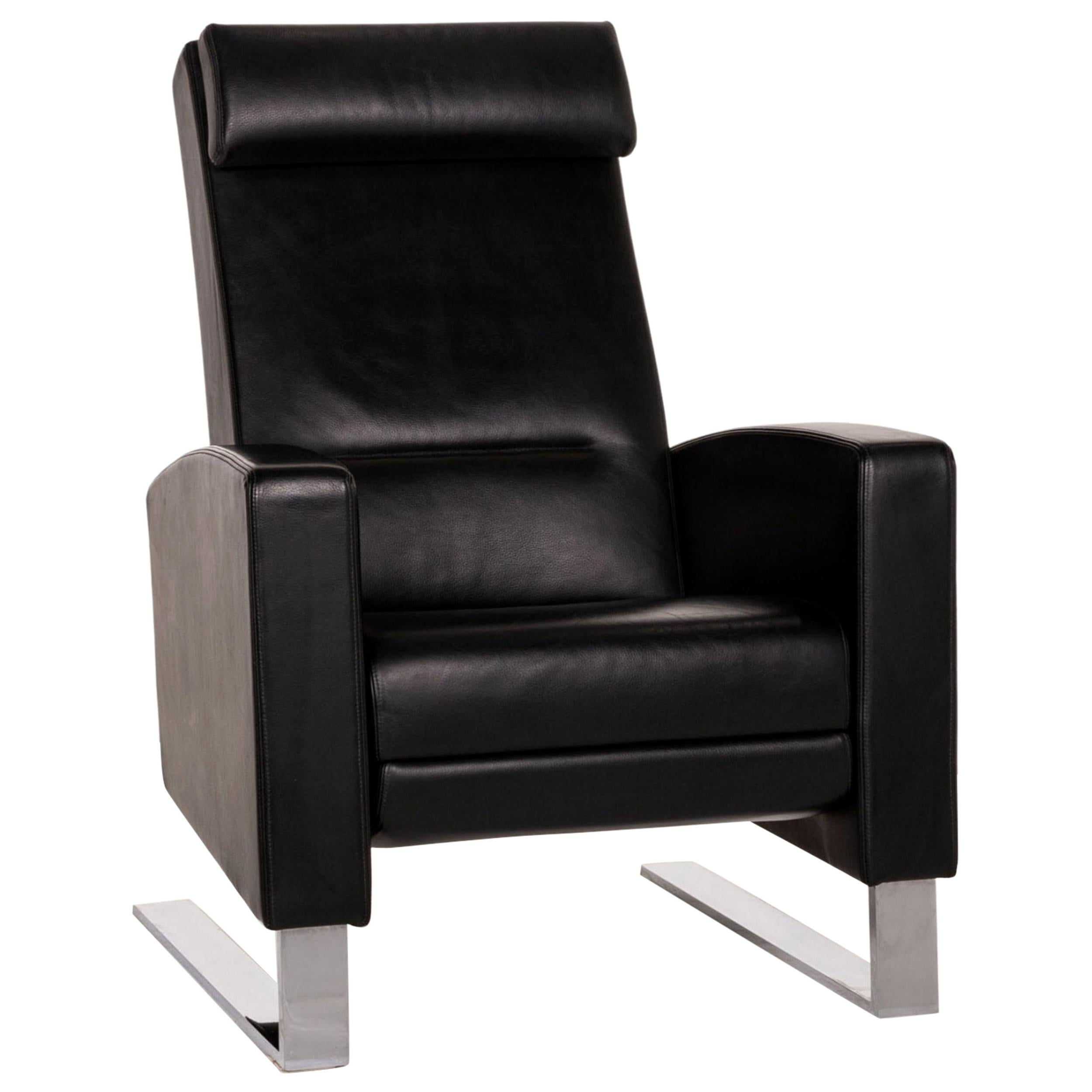 Wittmann Lindberg Leather Armchair Black Relaxation Function Incl. Pillow