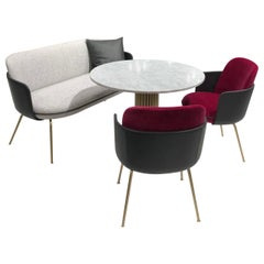 Wittmann Merwyn Velvet Amrchairs, Sofa Bench and Miles Table Collection